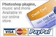 Photoshop plugins, music and more.  Available in our online store.